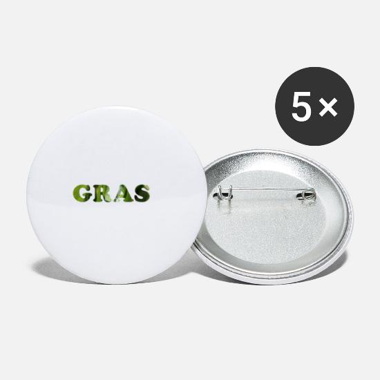 Pothead Buttons - Grass as a word - Small Buttons white