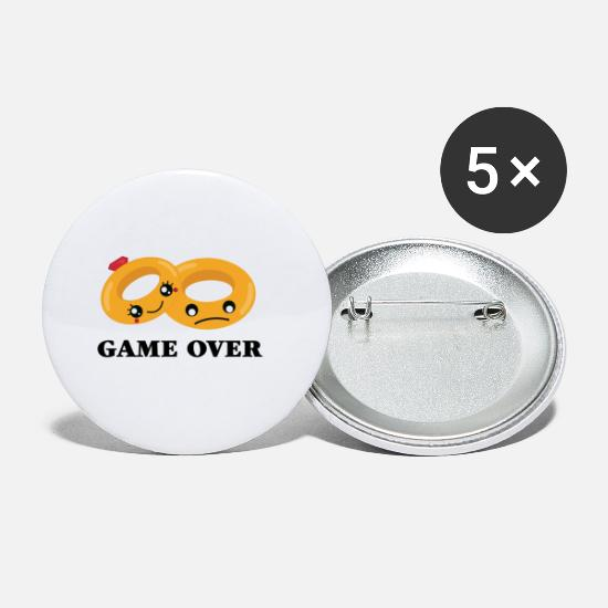 Bryllup Buttons & merkelapper - GAME OVER Wedding Rings - Små buttons hvit