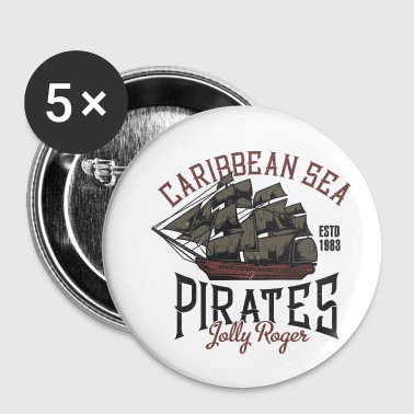 Voilier pirate des Caraïbes Jolly Roger - Badge petit 25 mm