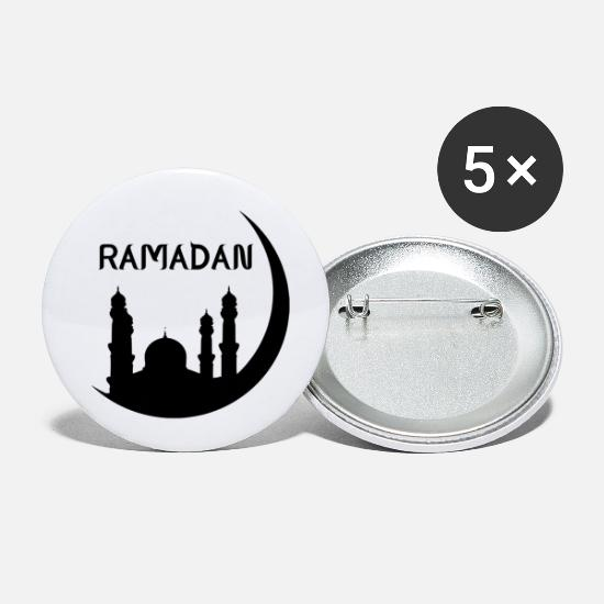 Gift Idea Buttons - Ramadan mosque crescent gift idea - Small Buttons white