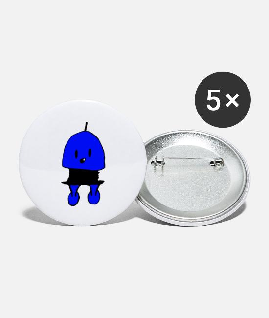 Artist Buttons - Monster blue - Small Buttons white