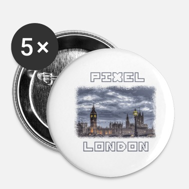 Pixelated PIXEL LONDON with pixel font - Buttons small 25 mm
