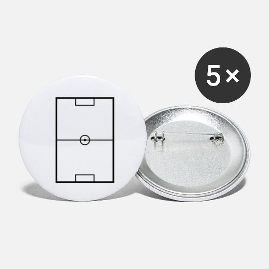Fussballfeld Schwarz Buttons Klein 25 Mm 5er Pack Weiss