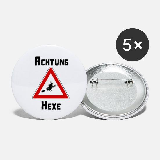 Lustig Achtung Hexe Schild Flug Besen Geschenk Buttons Klein