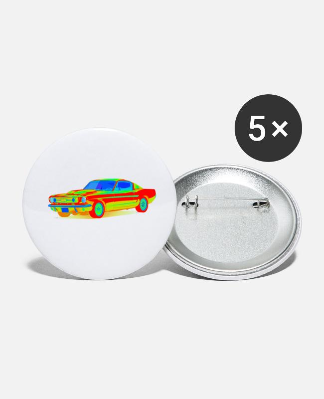 Vehicle Buttons - musclecar - Small Buttons white