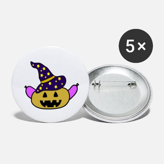 Witches Broom Buttons - hot dog - Small Buttons white