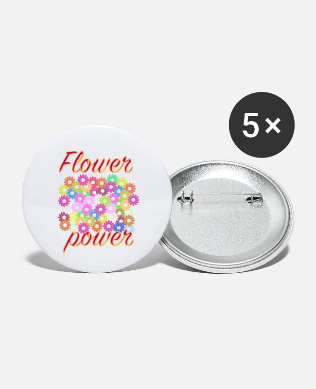 Hipster Buttons - Flower Power - Small Buttons white
