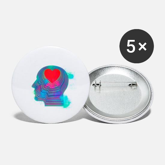 Boss Buttons - Skull head heart colorful - Small Buttons white