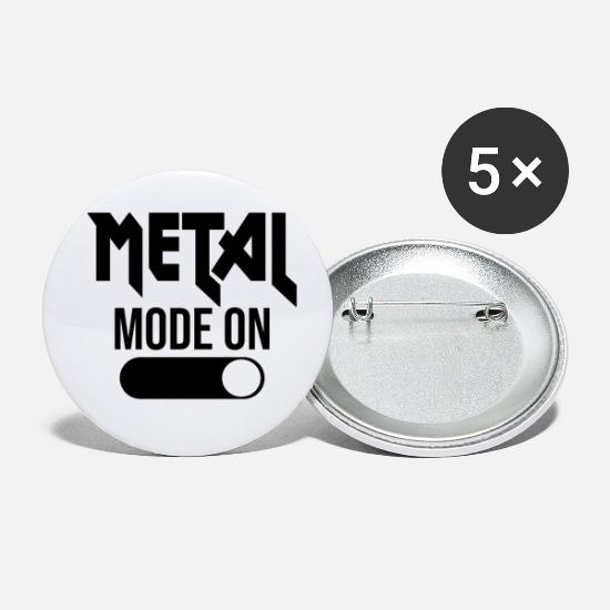 Hardrock Buttons & Anstecker - Heavy Metal Mode on - Buttons klein Weiß