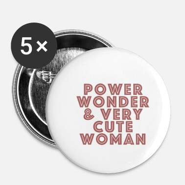 Officialbrands Power, Wonder & Very Cute Woman Women's Gift - Buttons/Badges lille, 25 mm