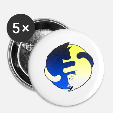Hug Chats Yin Yang T-shirt - Badge petit 25 mm