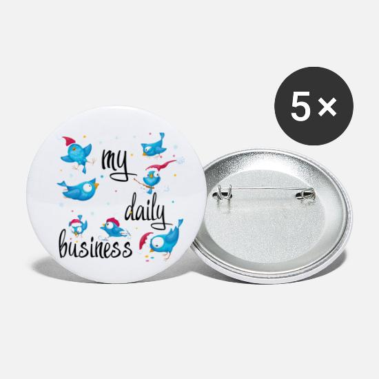 Gift Idea Buttons - My daily business - Small Buttons white