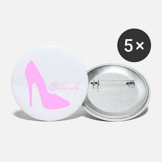Party Machen Buttons & Anstecker - hen party rose high heel - Buttons klein Weiß