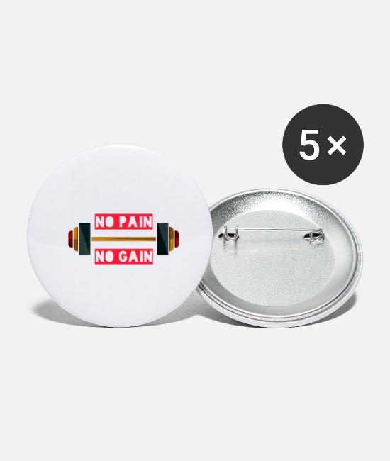 Pain Buttons - no pain no gain - Small Buttons white