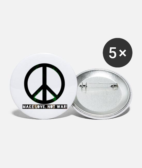 Love Buttons - peace make love was not - Small Buttons white