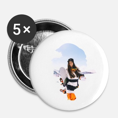 Angribere Snowboarder sne vinter gave bjerge - Buttons/Badges lille, 25 mm