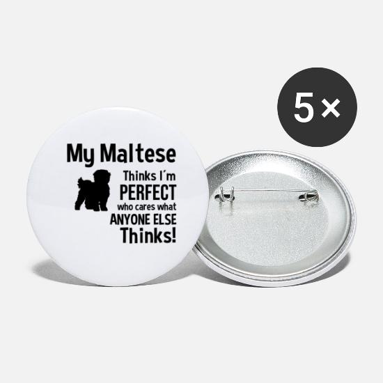 Dog Friend Buttons - Maltese Maltese dog dogs gift friend - Small Buttons white