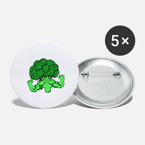 Strong Buttons - Broccoli Kracht - Buttons klein wit