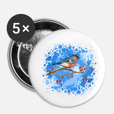 Shape The bullfinch bird - Små knappar 25 mm (5-pack)