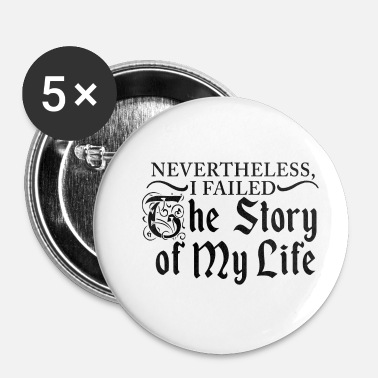 Kers Satire T-shirt My Life Story - Wit - Buttons klein 25 mm (5-pack)
