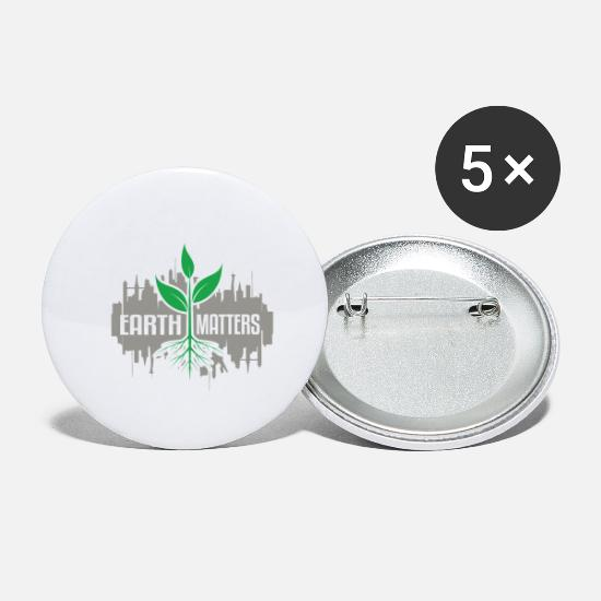 Enviromental Buttons - Earth Matters Pollution Environmental Protection - Small Buttons white