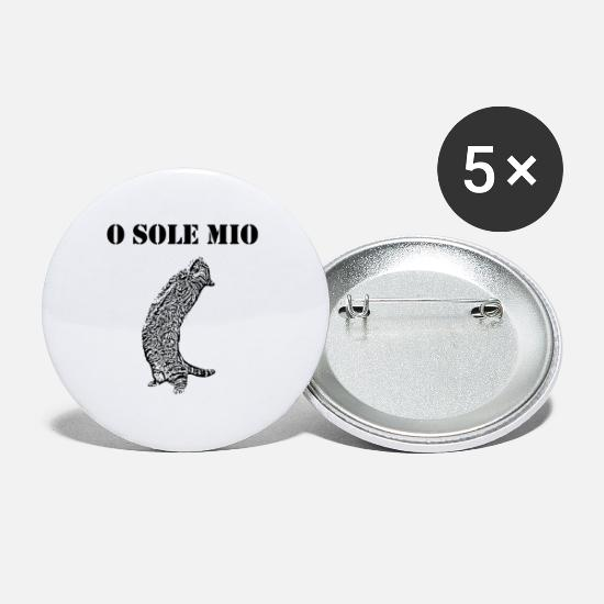 Meow Buttons - Cat Sings O Sole Mio Funny sayings french - Small Buttons white