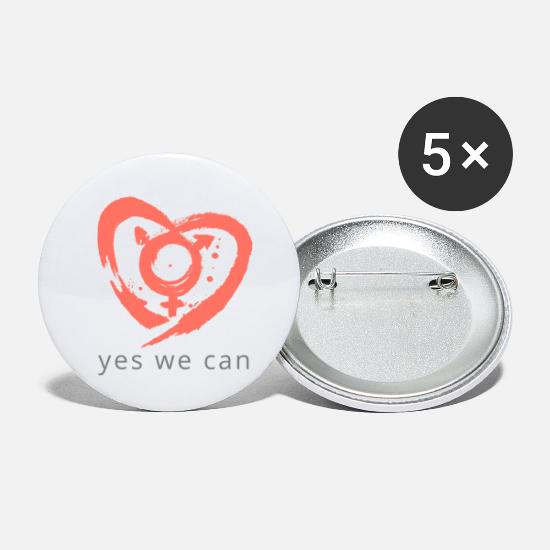 Love Buttons - Transgender heart yes we can - Small Buttons white