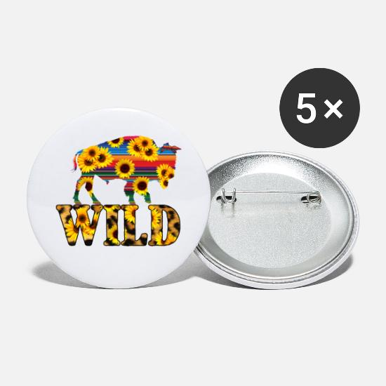 Wild Buttons - Wild Animal Bison - Small Buttons white