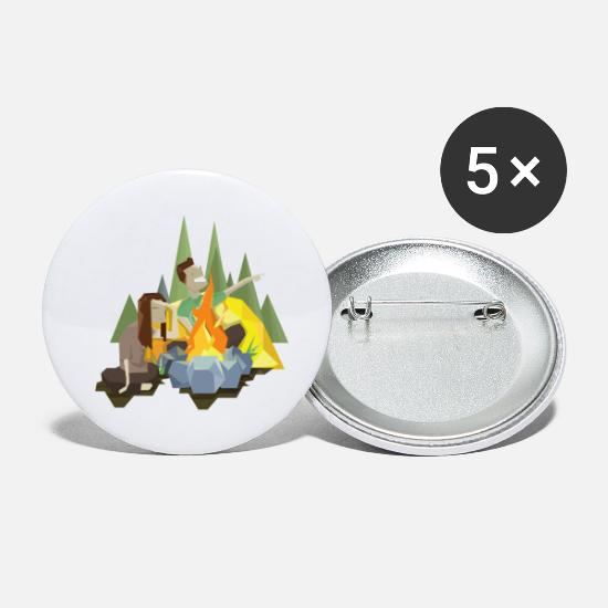 Forest Animal Buttons - Camping around the campfire - Small Buttons white
