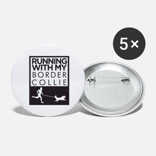 Running Buttons - Border Collie dog running shirt - Small Buttons white