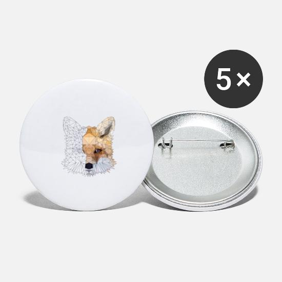 Animal Lover Buttons - Fox Polygon Animal Fox Animal Poly Tshirt - Small Buttons white