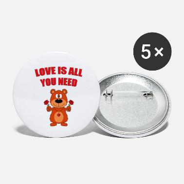 All You Need Is Love Teddy - Bear - Roses - Love is all you need - Small Buttons