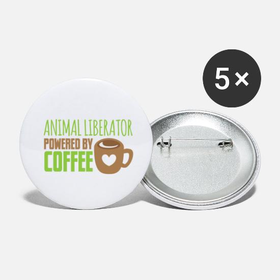 Animal Rights Activists Buttons - animal liberator powered by coffee - Small Buttons white
