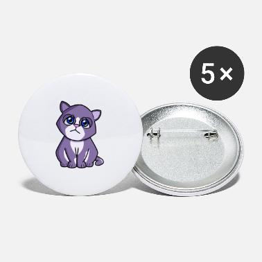 Cat purple blue - Small Buttons