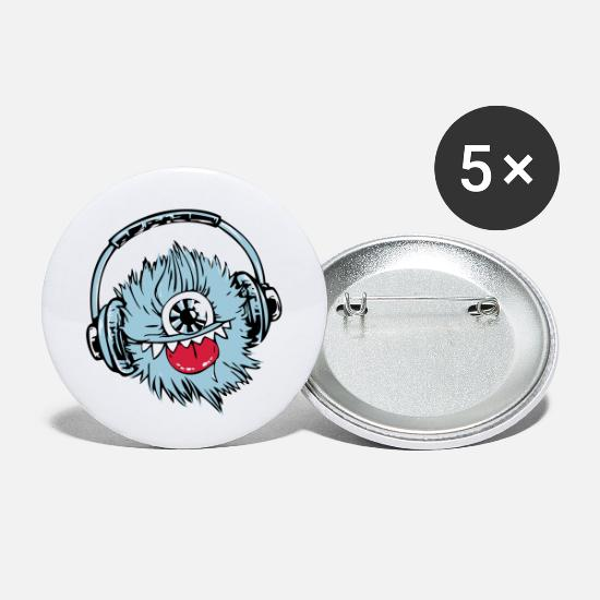 Hardstyle Badges - monster blue dj - Petits badges blanc