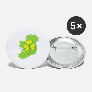 Ireland Shamrock Ireland Irish map with shamrock - Small Buttons