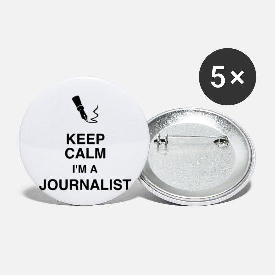 Tv Buttons & badges - journalist / journalistik / avis / reporter - Små buttons hvid