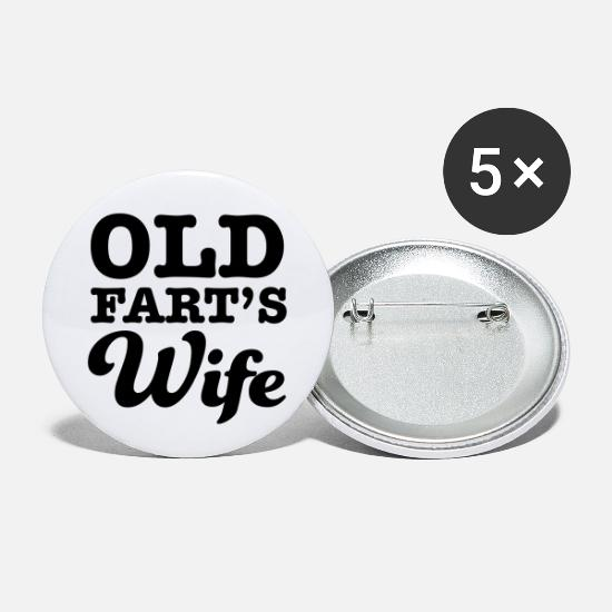 Over The Hill Buttons - Old Fart's Wife - Small Buttons white