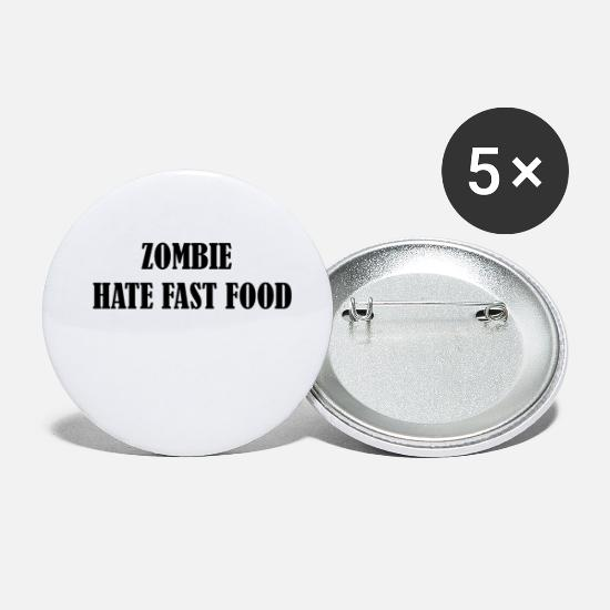 Funny Buttons - Zombie hate fast food - Small Buttons white