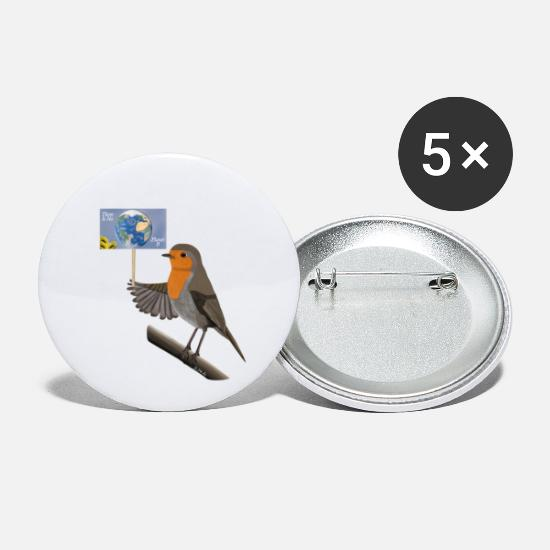 Birthday Buttons - jz.birds robin demonstrates for the environment - Small Buttons white