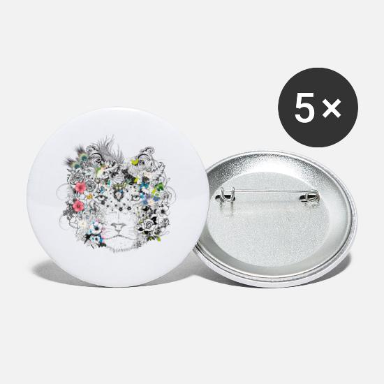 Eyes Buttons - extraordinarily decorated lion mane with flowers - Small Buttons white