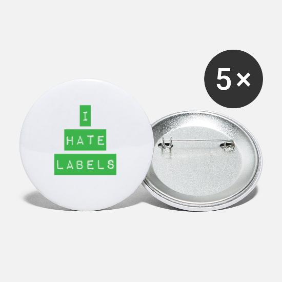 70s Buttons - I hate labels - Small Buttons white