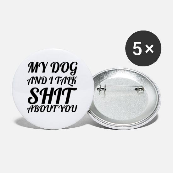 Gift Buttons & Anstecker - dog - my dog and I - Buttons klein Weiß