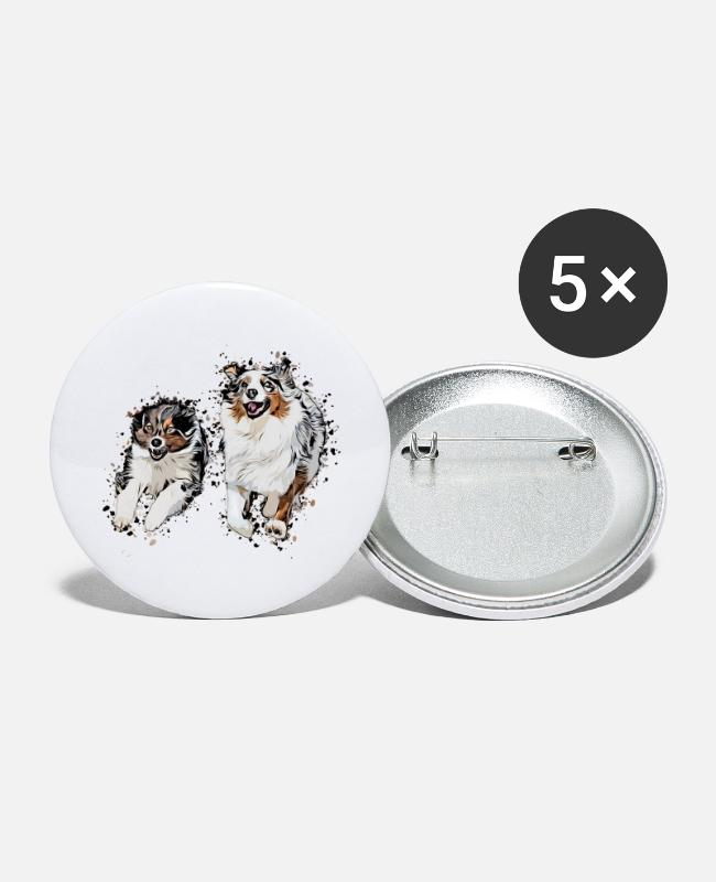 Obedience Buttons - Aussie comic - Small Buttons white