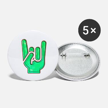 Rock 'n' Roll Rock Hand Gesture Dented Green Red Cool Salute - Small Buttons