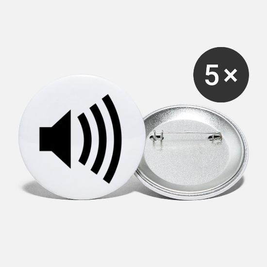 Music Buttons - loud music - Small Buttons white