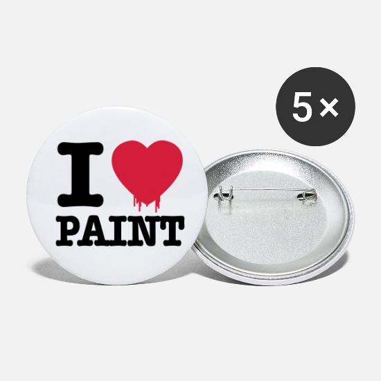 I Love Buttons - i love paint - Small Buttons white
