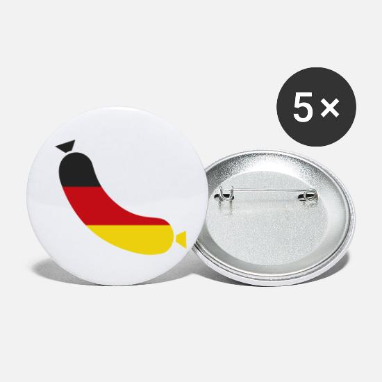 Flag Buttons - German flag in a sausage - Deutsche wurst - Small Buttons white