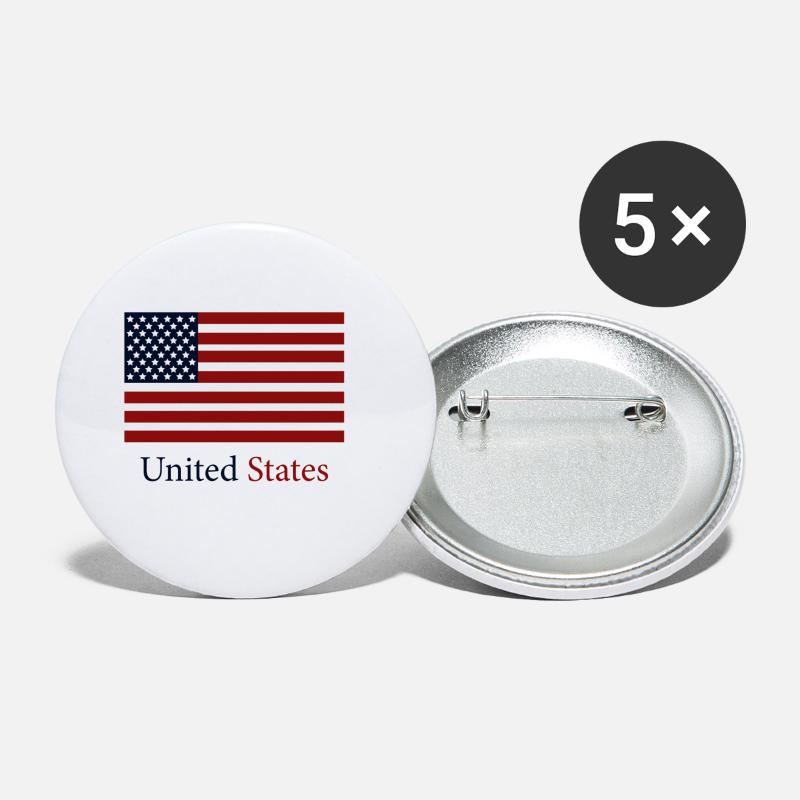State Buttons - flag of the united states - Small Buttons white