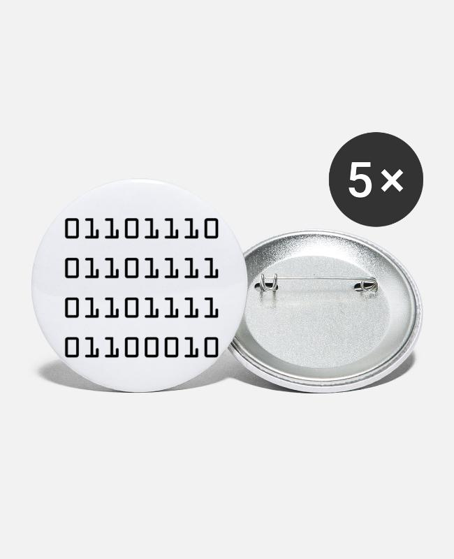 Noob Buttons - Noob as Binary - Small Buttons white